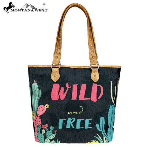 MW738-9318 Montana West Wild West Collection Canvas Tote Bag