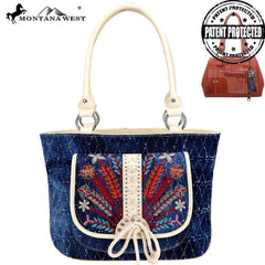 MW743G-8317 Montana West Embroidered Collection Concealed Carry Tote