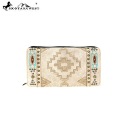 MW744-W010 Montana West Aztec Collection Secretary Style Wallet