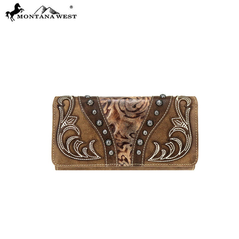 MW754-W018 Montana West Tooled Collection Wallet/Wristlet