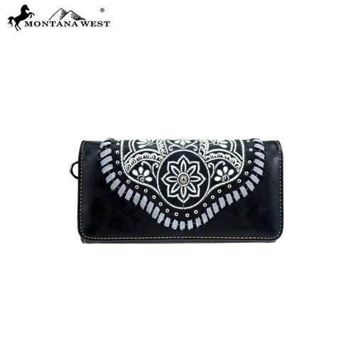 MW763-W018  Montana West Embroidered Collection Wallet
