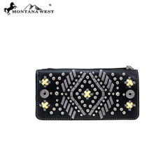 MW767-W021 Montana West Aztec Collection Secretary Style Wallet