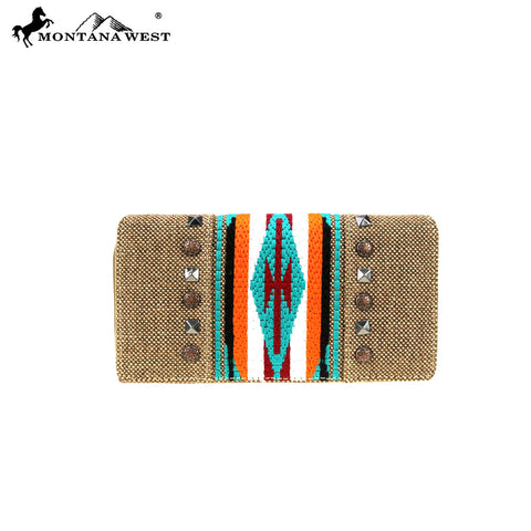 MW779-W010 Montana West Aztec Collection Secretary Style Wallet