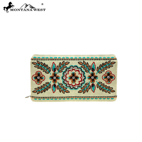 MW780-W010 Montana West Embroidered Collection Secretary Style Wallet