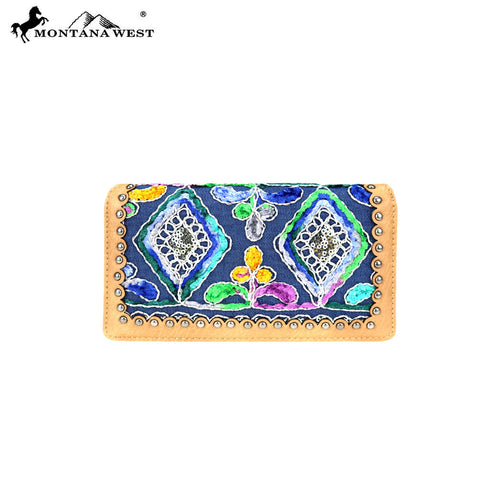 MW781-W010 Montana West Embroidered Collection Secretary Style Wallet