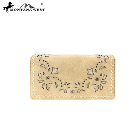 MW792-W010 Montana West Embroidered Collection Secretary Style Wallet