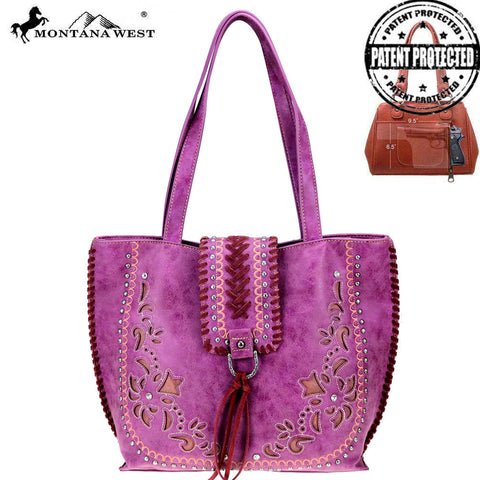 MW792G-8318 Montana West Embroidered Collection Concealed Carry Tote
