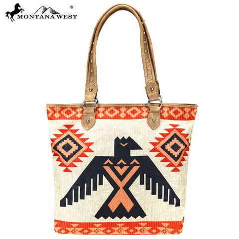 MW805-9318 Montana West Wild West Collection Canvas Tote Bag