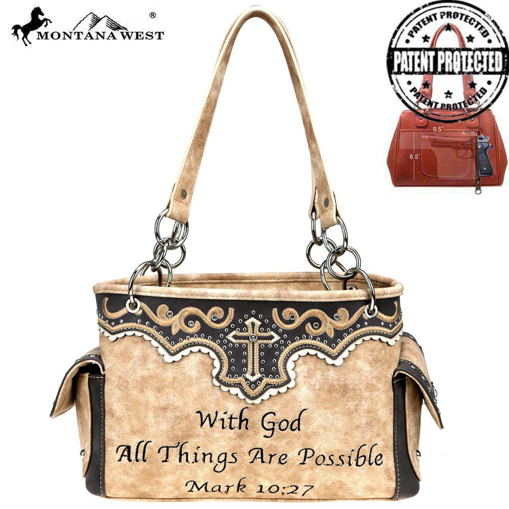 Montana West Spiritual Collection Concealed Carry Crossbody Bag Brown