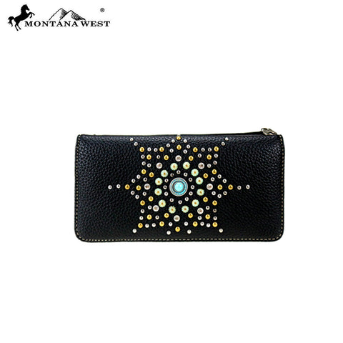 MW810-W021 Montana West Embroidered Collection Secretary Style Wallet