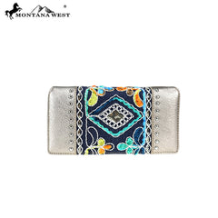 MW822-W010 Montana West Embroidered Collection Secretary Style Wallet
