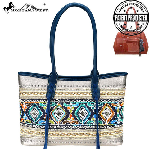 MW822g-8317  Montana West Embroidered Collection Concealed Carry Tote