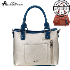 MW822g-8567  Montana West Embroidered Collection Concealed Carry Satchel/Crossbody