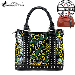 MW824G-8567 Montana West Vintage Floral Collection Concealed Carry Satchel/Crossbody