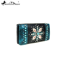 MW825-W021 Montana West Embroidered Collection Secretary Style Wallet