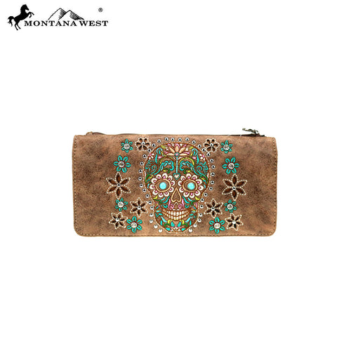 MW826-W021 Montana West Sugar Skull Collection  Wallet
