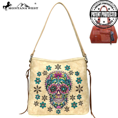 MW826G-918 Montana West Sugar Skull Collection Concealed Carry Hobo Bag