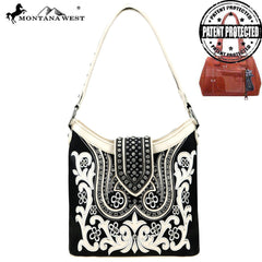 MW844G-918 Montana West Embroidered Collection Concealed Carry Hobo