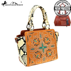 MW852G-8250  Montana West Embroidered Collection Concealed Carry Trapezoid Tote/Crossbody