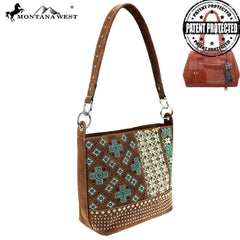 MW855G-918  Montana West Embroidered Collection Concealed Carry Hobo