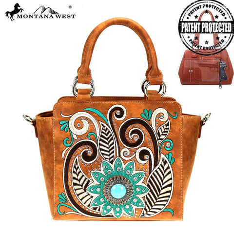 MW862G-8250  Montana West Embroidered Collection Concealed Carry Satchel/Crossbody Bag