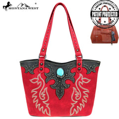 MW863G-8005  Montana West Embroidered Collection Concealed Carry Tote