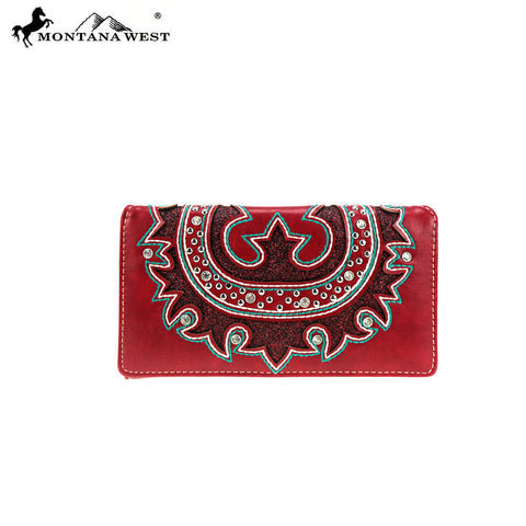 MW870-W010 Montana West Embroidered Collection Secretary Style Wallet