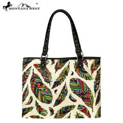 MW872-8118 Montana West Feather Print Canvas Tote Bag