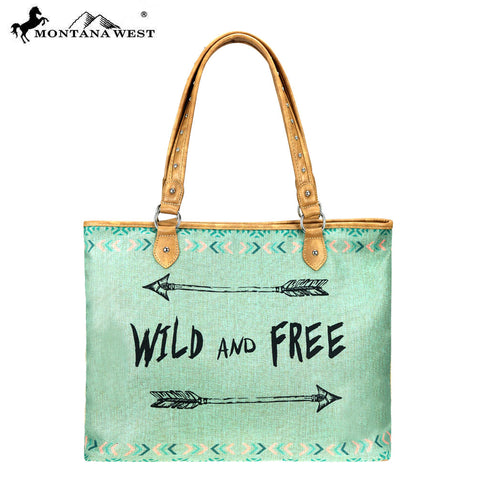 MW874-8118 Montana West Arrow Print Canvas Tote Bag