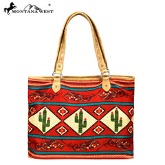 MW875-8118 Montana West Cactus  Print Canvas Tote Bag