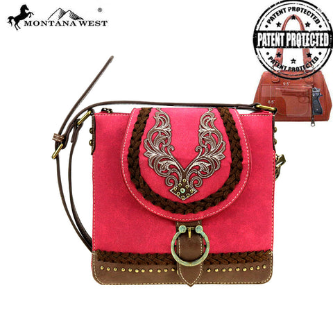 MW892G-9360  Montana West Embroidered Collection Concealed Carry Crossbody Bag