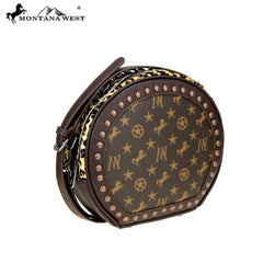 MW896-101 Montana West Signature Monogram Hair Calf Collection Circle Bag/ Crossbody