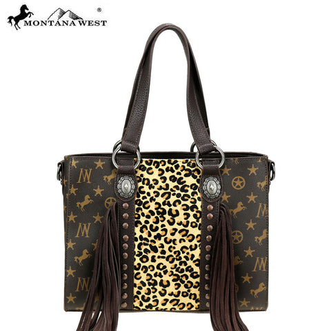 MW896-8260 Montana West Signature Monogram Hair Calf Collection Tote/Crossbody