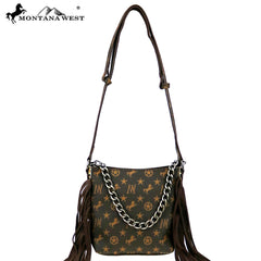MW896-8461 Montana West Signature Monogram Hair Calf Collection Hobo/Crossbody