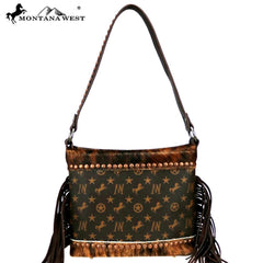 MW896-918 Montana West Signature Monogram Hair Calf Collection Hobo