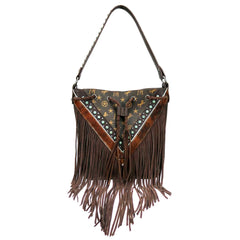 MW901-8275 Montana West Signature Monogram Fringe Collection Hobo