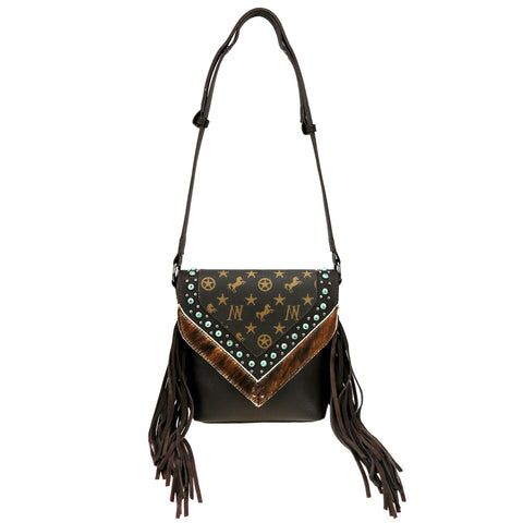 MW901-8360 Montana West Signature Monogram Fringe Collection Crossbody