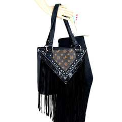 MW901P-8317 Montana West Signature Monogram Fringe Collection Tote
