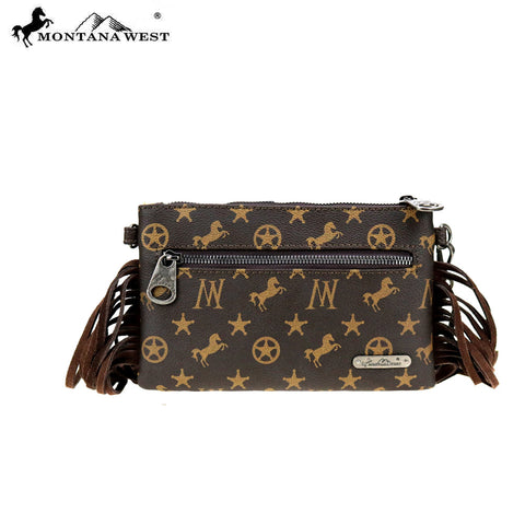 MW902-181 Montana West Signature Monogram Collection Clutch/Crossbody