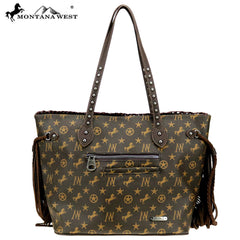MW902-8317 Montana West Signature Monogram Collection Wide Tote