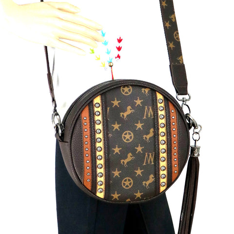 MW903-118 Montana West Signature Monogram Collection Circle Bag/ Crossbody