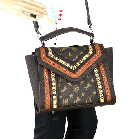 MW903-8262 Montana West Signature Monogram Collection Tote/Crossbody