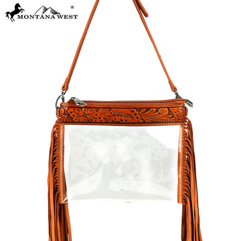 MW906-191 Montana West Western Fringe Clear Crossbody Bag