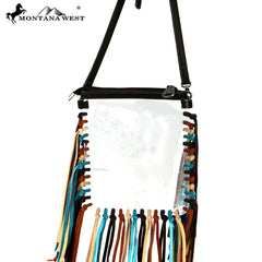 MW906-192 Montana West Western Fringe Clear Crossbody Bag