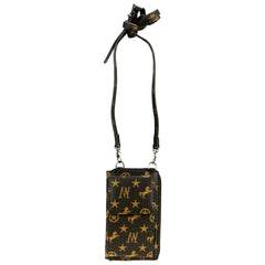 MW907-183   Montana West Signature Monogram Collection Phone Case Crossbody Wallet