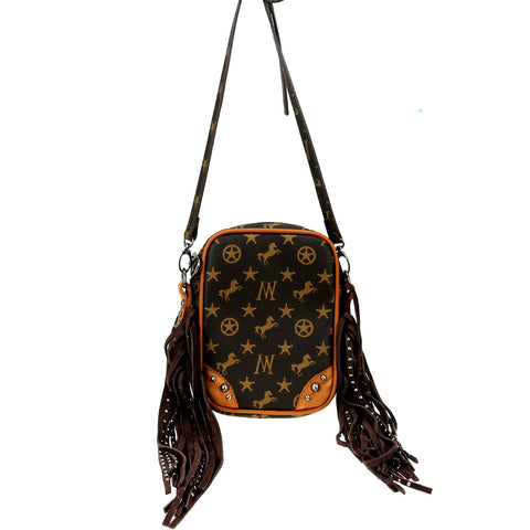 MW908-185   Montana West Signature Monogram Collection Crossbody bag