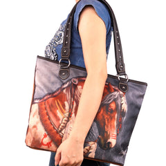 MW922-8112 Montana West Horse Canvas Tote Bag