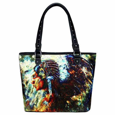 MW923-8112 Montana West Indian Chief Canvas Tote Bag