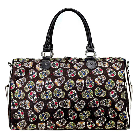 MW925-5110 Montana West Sugar Skull Canvas Weekender Bag