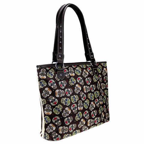 MW925-8112 Montana West Sugar Skull Canvas Tote Bag